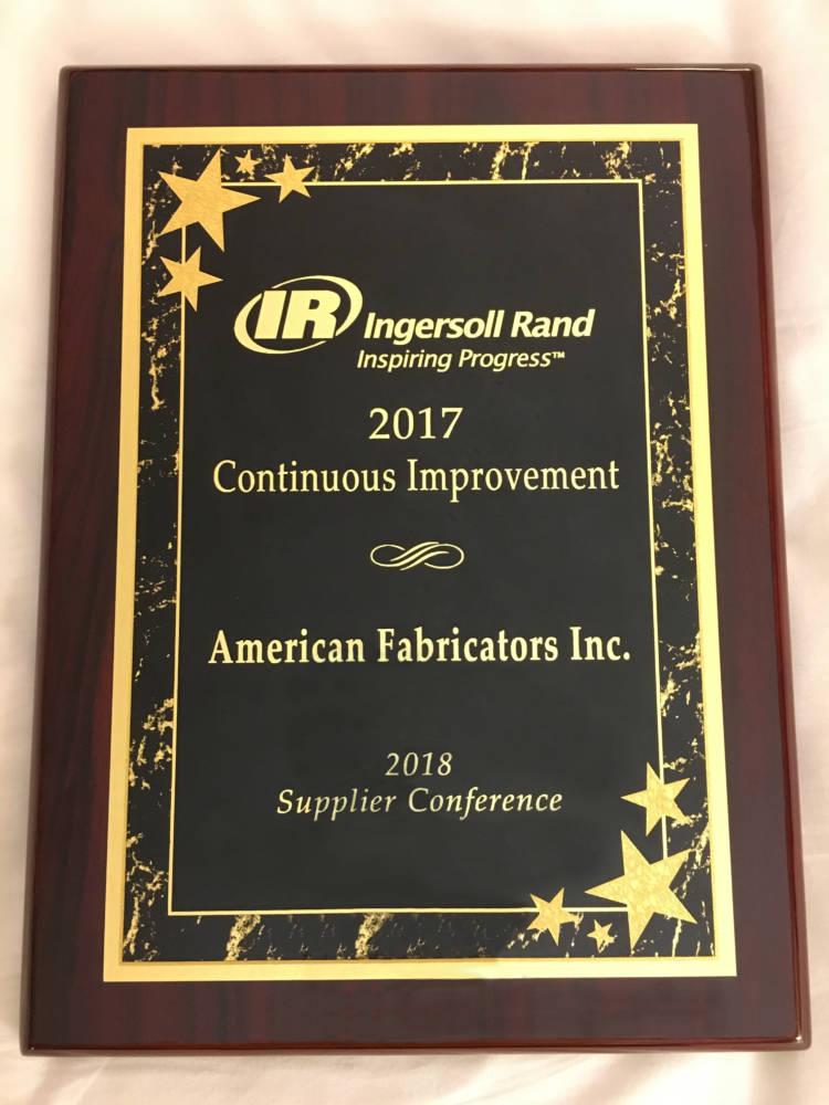 AFI Wins Continuous Improvement Award at Global Supplier